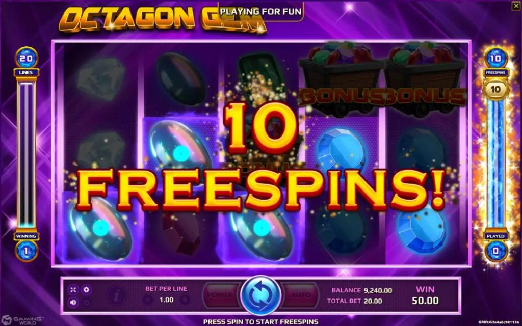 ฟรีสปินเกม Octagon Gem Joker123tm