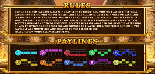 Horus Eye ไลน์ชนะของเกม